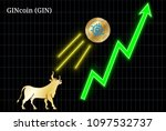 gold bull  throwing up gincoin  ...   Shutterstock .eps vector #1097532737