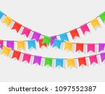 banner with garland of colour... | Shutterstock .eps vector #1097552387