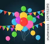 banner with garland of colour... | Shutterstock .eps vector #1097552393
