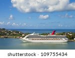 cruise ship with no logos docked in port at st lucia - stock photo