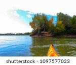 bow of yellow kayak. kayaking... | Shutterstock . vector #1097577023