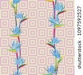 tropical flower bird of... | Shutterstock .eps vector #1097592527