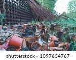 flower garden wasteland with... | Shutterstock . vector #1097634767