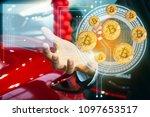 man business holding tecnology...   Shutterstock . vector #1097653517