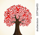 red aids ribbons concept tree.... | Shutterstock .eps vector #109766453