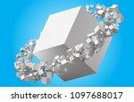 random sized cubes rotating in... | Shutterstock .eps vector #1097688017