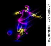 soccer player hits the soccer... | Shutterstock .eps vector #1097688707