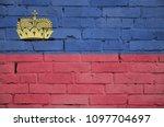 liechtenstein flag is painted... | Shutterstock . vector #1097704697