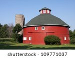 A Red Round Barn In The Indian...