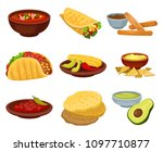 flat vector set of traditional... | Shutterstock .eps vector #1097710877
