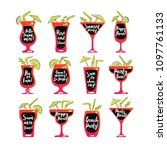 party cocktails doodle icons...   Shutterstock .eps vector #1097761133