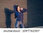 beautiful sporty woman... | Shutterstock . vector #1097762507