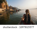 woman traveler on a boat glides ... | Shutterstock . vector #1097815577