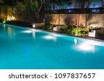 pool lighting in backyard at...   Shutterstock . vector #1097837657