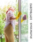 cleaning concept. young woman... | Shutterstock . vector #1097862893