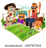 Cheerful Supporter of soccer. vector illustration - stock vector