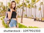 happy woman traveler relaxing | Shutterstock . vector #1097901503