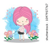 cute girl watering a the... | Shutterstock .eps vector #1097937767