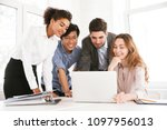 group of smart young... | Shutterstock . vector #1097956013