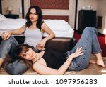 the stylish sisters sitting... | Shutterstock . vector #1097956283