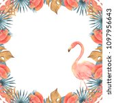 hand drawn watercolor tropical... | Shutterstock . vector #1097956643