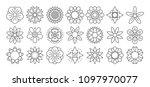 flower line icon set. vector... | Shutterstock .eps vector #1097970077