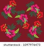 tropical flowers leaves vector... | Shutterstock .eps vector #1097976473