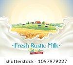 rural landscape with herd cows  ... | Shutterstock .eps vector #1097979227