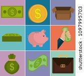 money finances set icons   Shutterstock .eps vector #1097995703