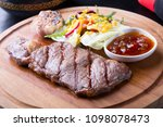 grilled beef steak with salad... | Shutterstock . vector #1098078473
