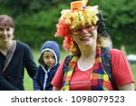 Small photo of Rybna nad Zdobnici, Czech Republic, 12.5.2018, Day Of Smiles, beneficent charity happening for handicapped children. Portrait of smilling woman clown.