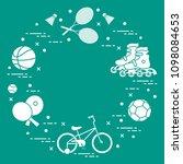badminton rackets and... | Shutterstock .eps vector #1098084653