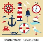 nautical elements in cartoon... | Shutterstock .eps vector #109810433