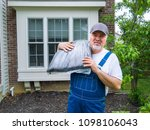 workman or gardener ready to... | Shutterstock . vector #1098106043