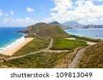 panoramic view of st kitts with nevis in background - stock photo