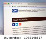 Small photo of Amsterdam, Netherlands - May 24 2018: Official website of the Centers for Disease Control and Prevention communicating communicating over Nipah virus.