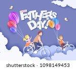 handsome man and his children... | Shutterstock .eps vector #1098149453