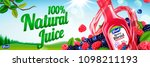 natural berry blend juice with...   Shutterstock .eps vector #1098211193