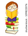 vector illustration of school boy reading on pile of books - stock vector