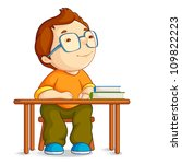 vector illustration of confused school boy sitting on table - stock vector