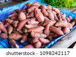 Small photo of Fresh yam in the market, yam background, Group of yam.