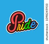 rainbow pride text is on blue... | Shutterstock .eps vector #1098245933