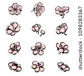 plum flower vector. pink floral ... | Shutterstock .eps vector #1098283367