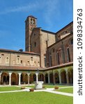 Small photo of Vicenza, Italy - April 22, 2018: Church with bell tower and the ancient Cloister of the convent of Saint Lawrence called Chiostro di San Lorenzo in Italian Language