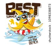 funny banana swimming with swim ... | Shutterstock .eps vector #1098338873