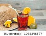 summer holiday cocktail glass | Shutterstock . vector #1098346577