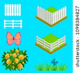set of elements for garden and... | Shutterstock .eps vector #1098384827
