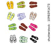 pair of colorful beach sandals  ... | Shutterstock .eps vector #1098391673
