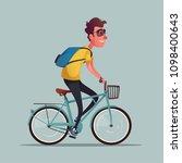 funny man ride a bike. vintage... | Shutterstock .eps vector #1098400643