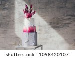 white wedding cake with flowers ... | Shutterstock . vector #1098420107
